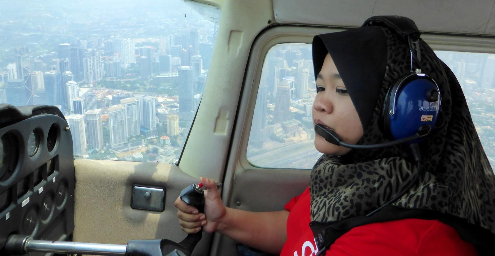 Nur Uzmana Husamudin on a flight above Kuala Lumpur