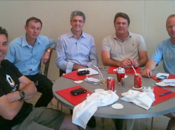 From L Matt Hicks, Harry Wubbin, Richard de Crespigny, Dave Evans and Mark Johnson the morning after their brush with diaster in a severely crippled Airbus A380 over Singapore. None of the 459 aboard were injured in the emergency.