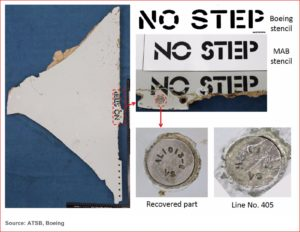 MH370 wreckage analysis included comparison of stenciling.