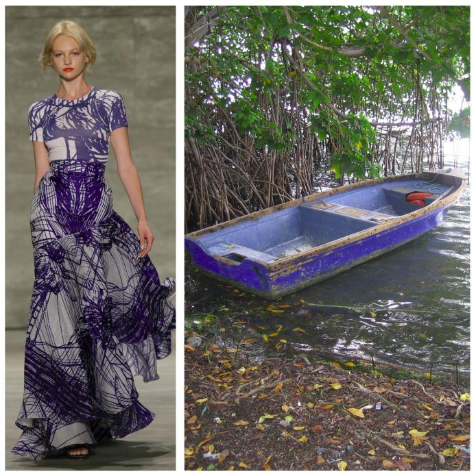 Luis Antonio blue dress collage