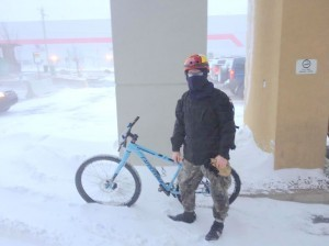 Sid Barber and his bike in Calgary