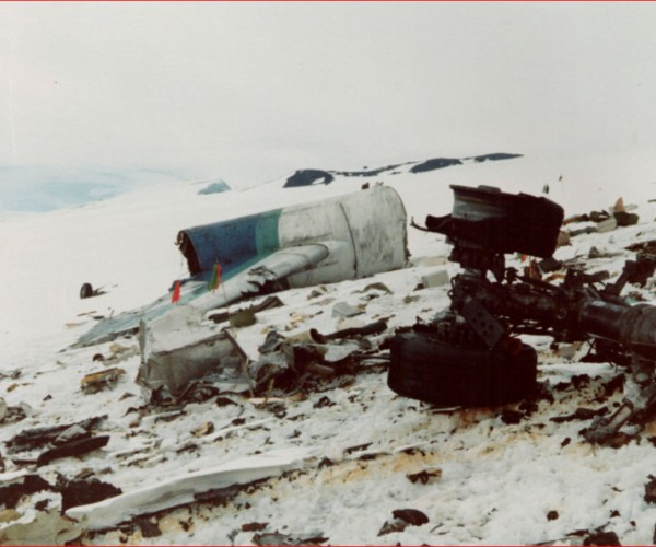 The Air New Zealand DC-10 tail mounted engine lies not far from the jet's landing gear lie in the snow at Mt Erebus. Photo from New Zealand Police
