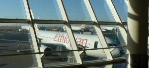 Airliner at Bole International Airport in Ethiopia
