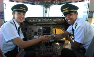 Ethiopian Airlines all-female flight crew (L) Amsale Gualu and Selam Tesfaye