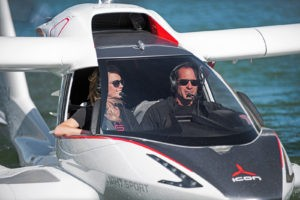 Kirk Hawkins piloting the A5 photo courtesy Icon Aircraft